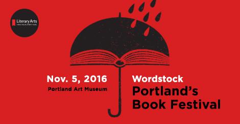 Wordstock: Portland's Book Festival, November 5, 2016, logo of umbrella on red background