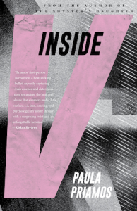 "Cover of Inside V by Paula Priamos; ""Inside"" in small letters on top, a giant V takes most of the cover"