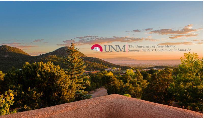 University of New Mexico Summer Writers' Conference in Santa Fe logo overlaying skyline of Santa Fe